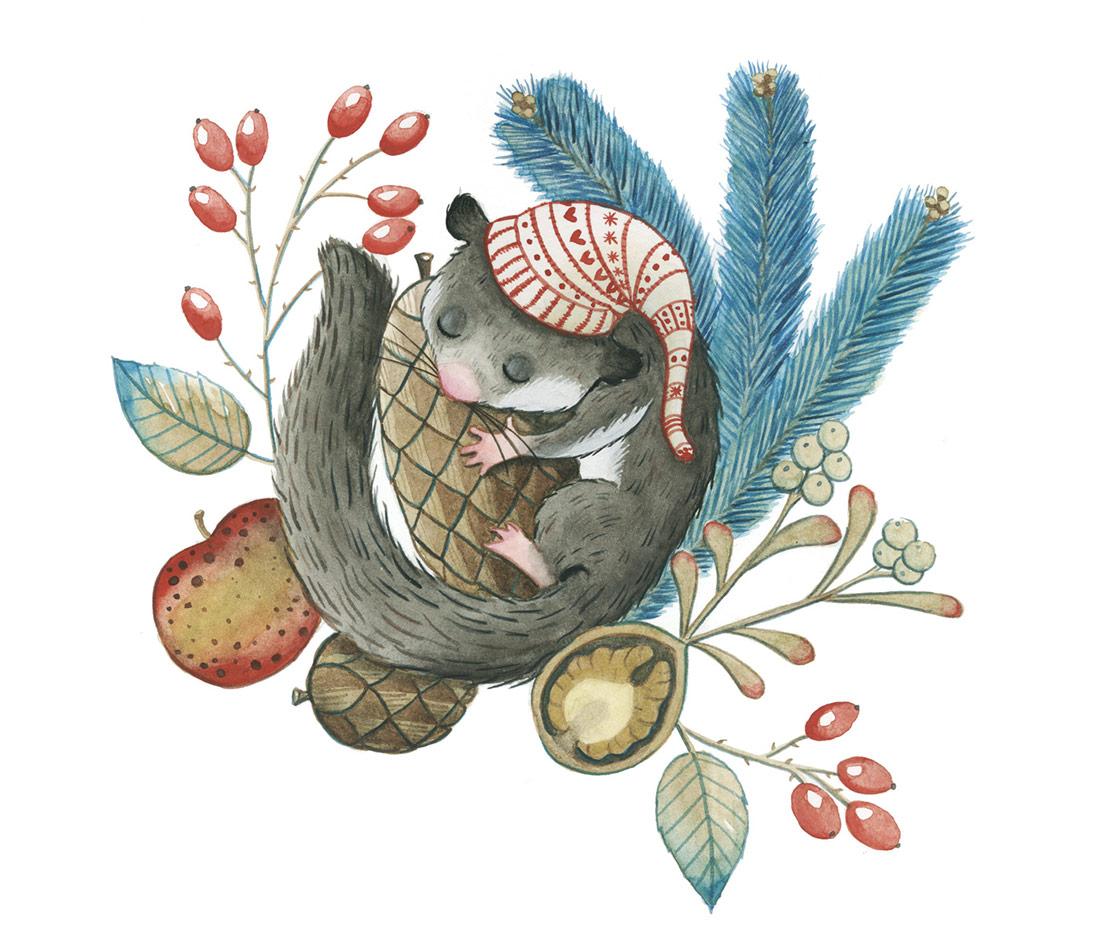 Illustrazione-Ghiro-Acquerello-BigliettoAuguri-LeonoraCamusso